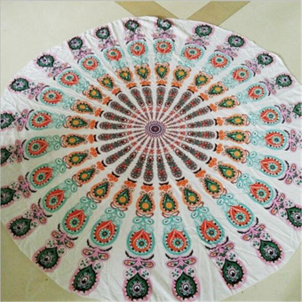 150cm Bohemian Style Mandala Round Bed Towel Thin Chiffon Beach Yoga Sheet Tapestry Green And White Button - Intl