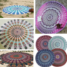 150cm Bohemian Style Mandala Round Bed Towel Thin Chiffon Beach Yoga Sheet Tapestry Purple Totem - Intl