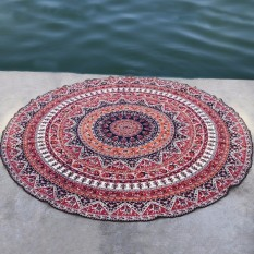150cm Bohemian Style Mandala Round Bed Towel Thin Chiffon Beach Yoga Sheet Tapestry Wine Red - Intl