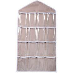 16 Pockets Hanging Over Door Wall Sock Shoe Organiser Storage Tidy Rack Space Saver Khaki - Intl