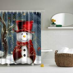 180*180cm 3D Christmas Snowman Waterproof Bathroom Fabric Shower Curtain With 12 Hook Bathroom Decor Curtain Screens - Intl