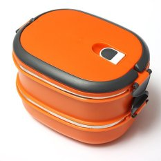 2 Layers Stainless Steel Lunch Box Picnic Storage Box Insulated Thermal Orange (Intl)
