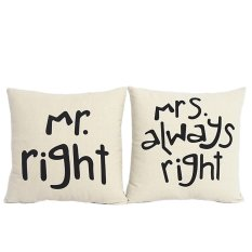 2 PCS Cotton Linen Square Throw Pillow Case Home Car Office Decorative Cushion Cover Pillowcase Without Pillow Inner Mr Right Pattern And Mrs Always Right Pattern