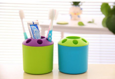 2 PCS Multi-purpose Porous Brush Pot Toothbrush Toothpaste Holder Bathroom Cabinet Organizer Plastic Storage Stand For Travel And Home (Round Blue / Green) - Intl