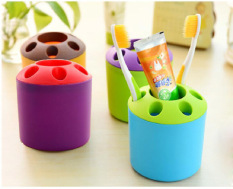 2 PCS Multi-purpose Porous Brush Pot Toothbrush Toothpaste Holder Bathroom Cabinet Organizer Plastic Storage Stand For Travel And Home (Round Blue / Purple) - Intl