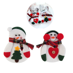 2 Sets (2 Pcs / Set) Christmas Santa Claus Kitchen Cutlery Suit Knifes And Folks Bag Snowman Shaped Holiday Gifts - Intl