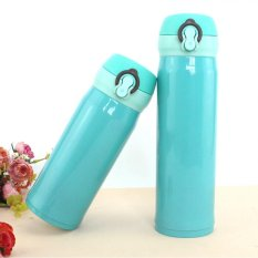 2 Sets Of German Grade Technology Vacuum Flask Colorful Bouncing Thermos Water Bottle (Blue, 350 Ml + 500 Ml)
