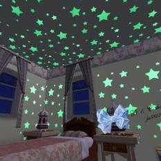 200 buah Art 3D wallpaper rumah dengan dinding bersinar in the dark bintang luar angkasa langit-langit stiker