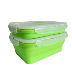 2016 New Stackable Food Storage Containers Silicone Collapsible Lunch Box (Green)