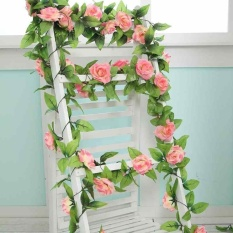 2.4M Artificial Rose Flower Fake Foliage Vine Ivy Leaf Wedding Plants Decoration - intl