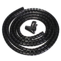 2m Cable Tidy Wire Storage Organising Organizer Spiral Wrap Tool For Office Home 10mm Black - Intl