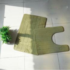 2PCS Anti-slip Bathroom Toilet Mats Soft Absorbent Bath Mat (Green) (Intl)