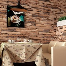 2Pcs Natural Wood Pulp Dull Brick Pattern10M Wallpaper Roll (Brown) - intl