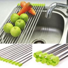 2pcs Stainless Roll Kitchen Sink Storage Dish Drainer Fruit Dry Shelves Rack Holder Green 48 X 23cm