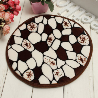 30cm Round Non Slip Foam Coral Velvet Bath Bedroom Shower Mat Floor Door Rug New Coffee Stone - Intl