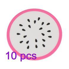 360DSC 10Pcs PVC Tablemat Colorful Round Fruit Slices Non-slip Heat Insulation Pad Placemat Coaster