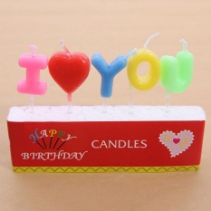 360DSC Environmental Protection Harmless I love You Letter Candles Birthday Candles - Colorful - intl