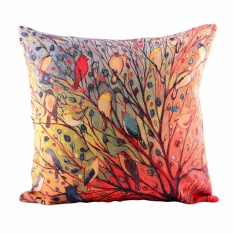 360DSC Many Birds On The Tree Colorful Oil Painting Cotton Linen Square Shaped Decorative Pillow Cover
