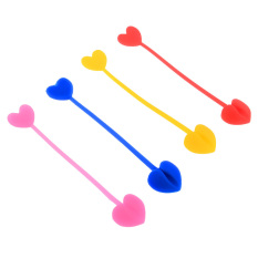 360DSC Silicone Heart Shaped Multi-use Bag Ties Food Bag Clips Color Random