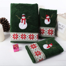 3pcs / Set Cartoon Snowman Cotton Bath Towel Sets For Adults Kids Durable Beach Towels Soft Face Towels For Home Hotel Bathroom Supply 64x127cm And 41x66cm And 28x46cm - Intl