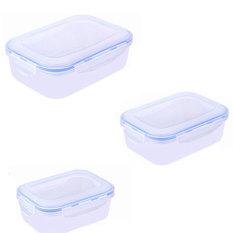 3Pcs / Set Multifunction Transparent Crisper Set Food Storage Box Kitchen Containers (Blue)