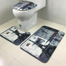 3pcs / Set Retro European Style Bathroom Non-slip Mat Eiffel Tower Toilet Seat Covers Set Lid Mats Cover Pedestal Toilet Rug Carpet