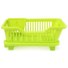 4-Color Kitchen Dish Drainer Drying Rack Washing Holder Basket Organizer Tray Green - Intl