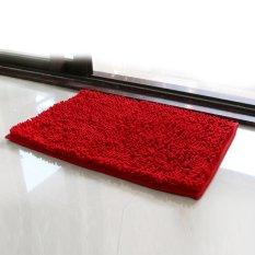 40*60cm Rectangle-shaped Water Absorbent Non-slip Soft Microfiber Chenille Floor Rug Mat Bath Mat Carpet (Red)