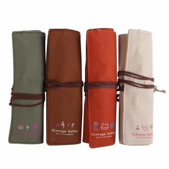 4pcs Lovely Volume Pencil Canvas Pen Curtain Elegant Cosmetic Pencil Bags