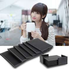 6 Pcs Double-deck Leather Coasters Set Placemat Of Cup with Coaster Holder (Intl)