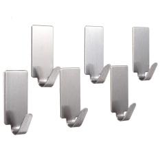 6 x Diri Perekat Dinding Dapur Rumah Stainless Steel Pintu Kait Gantungan Pemegang Tongkat