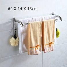 60cm*14cm*13cm, Two Towel Bar Brushed With Two Hooks, Bathroom Shelves, Towel Holders Bath, Towel Rack, Bathroom Shelves, Stainless Steel Bath Wall Shelf Rack Hanging Towel Dual Hanger, Punching Needed - Intl