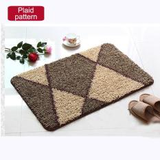 60x90cm Pattern Printed Bathroom Carpets Doormats Anti-Slip Polyester Floor Mat Pad For Living Room Bath Kitchen - Plaid Pattern - Intl