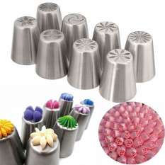8pcs Russian Tulip Flower Icing Piping Nozzles Cake Decor Tips Baking Tools Set
