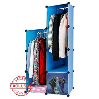 AIUEO Lemari Pakaian Motif Frozen 1 Pintu 6 Kotak 2 Gantungan Type 7.69 - Biru