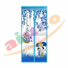 AIUEO Magic Mesh Tirai Magnet Anti Nyamuk Motif Couple Umbrella - Tirai Pintu Magnet