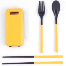 Alat Makan Set / Sendok Travel / Sendok Garpu Sumpit Travel - Oranye