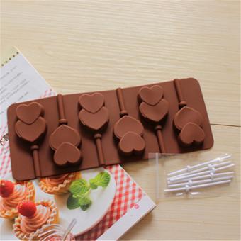 Alat Pembuat Roti Cetakan Kue Silikon Berbentuk Hati Untuk Cokelat Lolipop