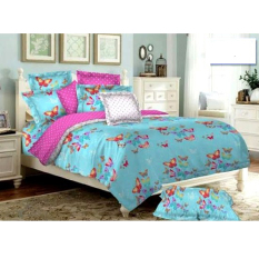Alona Ellenov Sprei With Bed Cover Katun Motif Butterfly Blue- Blue