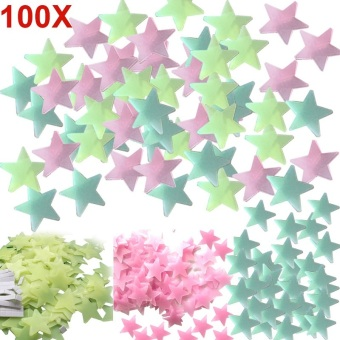 Amart 100pcs Stars Wall Decals Luminous Fluorescent Wall Stickers(Multicolor) - intl