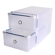 Andux 2pcs / Set Plastic Storage Foldable Shoe Box Stackable With Drawer CTXH-01 Transparent