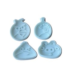 Angry Birds Pattern Cake And Cookie Cutter Mold With Plunger Set Of 4