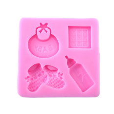 Baby Shoes Baby Bibs Bottle Shape Fondant Cake Decor DIY Baking Mold (Intl)