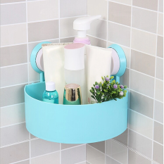 Bathroom Corner Shelf Suction Rack Organizer Cup Storage Shower Wall Basket - Biru