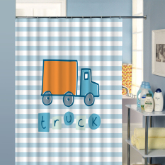 Bathroom Horizontal Stripes Shower Curtains Waterproof Moldproof Polyester Fabric Kitchen Curtain Truck Printed with 12 Hooks W180CM X H200CM