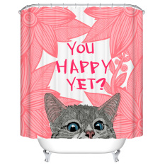 Bathroom Product Red Cute Cat Customized Polyester Fabric Waterproof Decorative Shower Curtains Bath Curtain