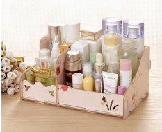 BEST Rak Kayu 25 DIY Kosmetik / Stationary / Alat Tulis Desktop Organizer Storage Box - Pink Flower