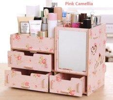 Best Rak Kayu kosmetik 057 CERMIN BEAR Cosmetic Storage Stationary Organizer - Pink Camelia