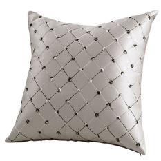 Bluelans Home Sofa Bed Decor Plaids Throw Pillow Case Square Cushion Cover Silver Grey (Intl)