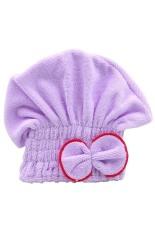 Bluelans Women's Hair Drying Hat Towel Turban Cap Bowknot Soft Coral Velvet Micro-fiber Purple (Intl)
